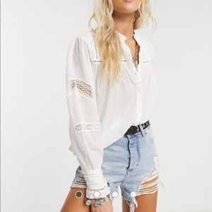 Free People EMMA Cotton Lace Button Down Top Shirt